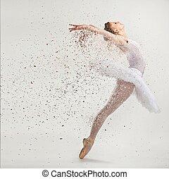 jovem, bailarina, dançarino, tutu, Executar, pointes