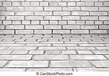 Old white gray brick room background - Old white gray brick...