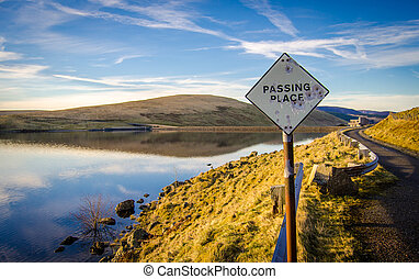 Passing Place Sign Beside Scottish Lake