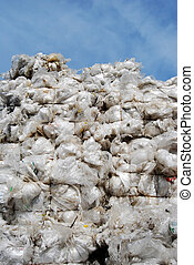 Plastic waste - Plastic sacks on a recyling site