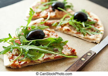 Slice of Pizza Margherita with Arugula and Olives - Slice of...