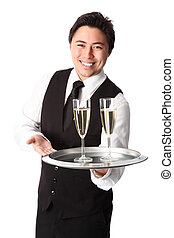 Two glasses of champagne is served!