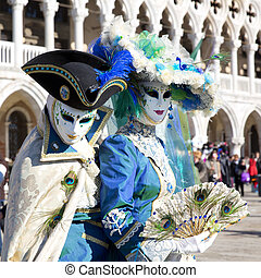 Carnival of Venice, beautiful masks at St Marks Square