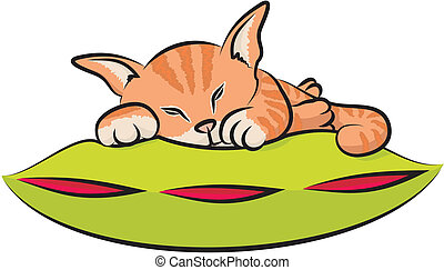 sleeping kitty - ginger kitty lying and dreaming on a green...