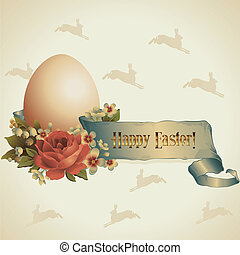 Happy Easter! - Happy Easter Easter egg in a nest with a...