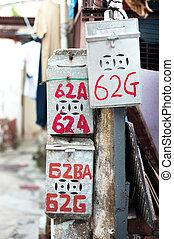 Classic Chinese mailbox, Tai O fishing village, Hong Kong -...