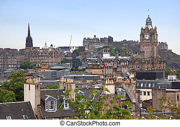 Edinburgh vista from Calton Hill including Edinburgh Castle, Balmoral Hotel and Scott Monument , UK