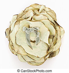 Silk brooch - Artificial white flower of silk isolated on...