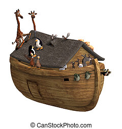 Noah\'s Ark with a handful of animals. With Clipping Path