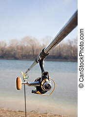 Fishing pole - Close-up rod for fishing on a background of...