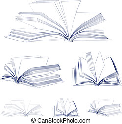 Open book sketch set isolated on white background. Vector...