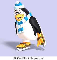 male toon penguin - male toon enguin with hat and scraf and...