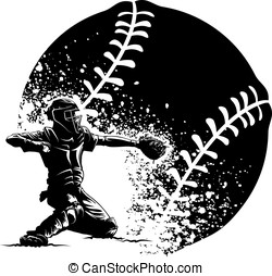 Baseball Catcher With a Grunge Ball - Black and white vector...