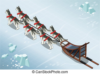 Isometric sled dogs in Rear View on Ice - Detailed...