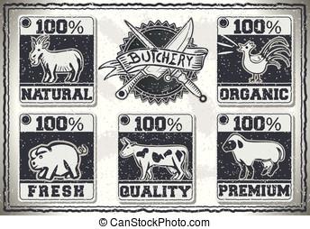 Vintage Page for Butcher Shop Labels - Detailed illustration...