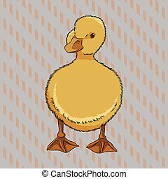Realistic duckling side view - Vector illustration of...