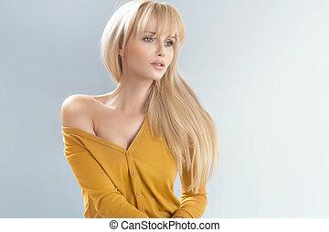 delikat, blondin, kvinna, mjuk, skinn
