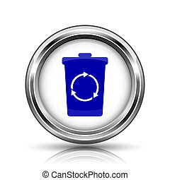 Recycle bin icon - Shiny glossy icon - internet metallic...
