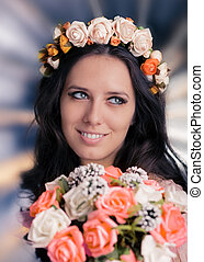 Woman with Floral Wreath and Bouque - Beautiful young woman...