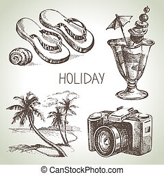 Travel and holiday set Hand drawn sketch illustrations