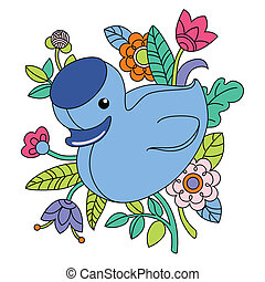 Illustration of cartoon blue duck - Vector illustration of...