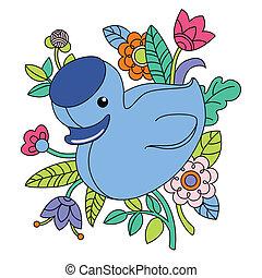 Illustration of cartoon blue duck - Vector illustration of...