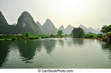 Guilin Li river Karst mountain landscape in Yangshuo -...