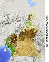 Cameroon, shaded relief map - Cameroon. Shaded relief map....