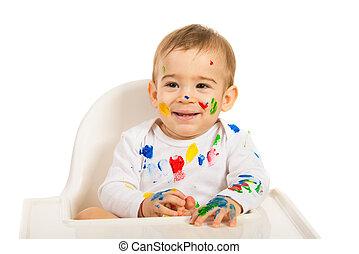 Happy painter baby