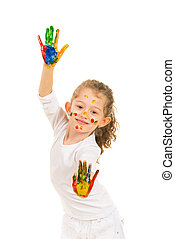 Cute girl with hands in paints