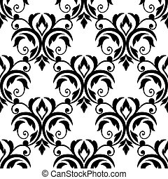 Scrolling floral design elements in a repeat black and white...