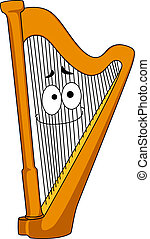 Classical wooden harp with a smiling face on the strings,...