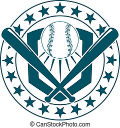Baseball emblem or banner - Blue and white baseball emblem...
