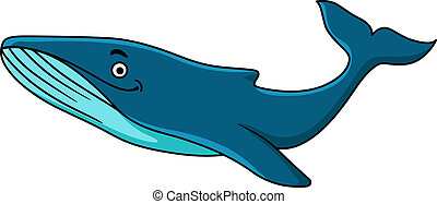 Large blue whale mascot with a happy smile swimming...