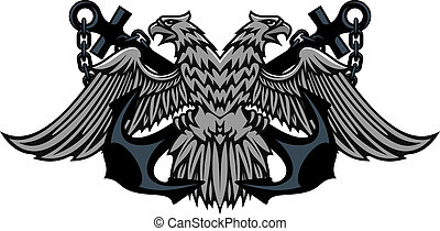 Double headed Imperial eagle on anchors - Fierce double...