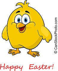 Happy cartoon Easter little chick - Happy cartoon Easter...