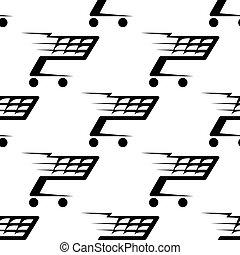 Seamless pattern of a speeding shopping cart - Seamless...