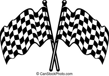 Two crossed black and white checkered flags with the fabric...