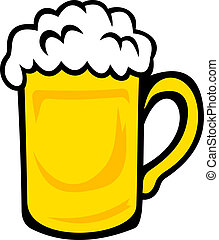 Tankard of frothy golden beer isolated on white background...