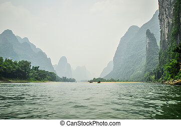 Guilin Park and Karst rocks Yangshuo China.