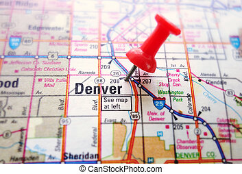 Denver map - Closeup of a map of Denver with red push pin...