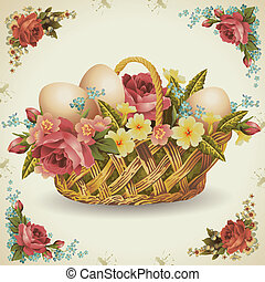 Easter basket with flowers in which rozmizheni Easter eggs...