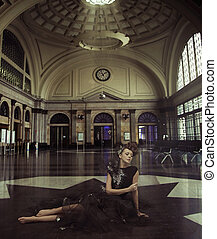 Stylish lady in the railway station - Stylish woman in the...