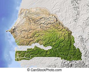 Senegal, shaded relief map - Senegal. Shaded relief map....