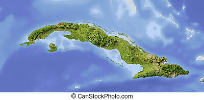 Cuba, shaded relief map - Cuba. Shaded relief map....