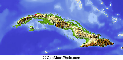 Cuba, shaded relief map - Cuba Shaded relief map Surrounding...
