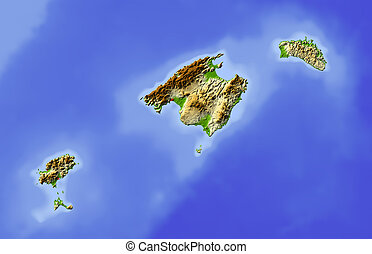 Balearic Islands, shaded relief map - Balearic Islands...