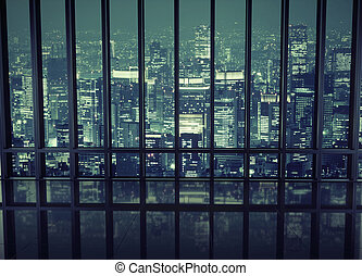 View of a night city - View of a night town