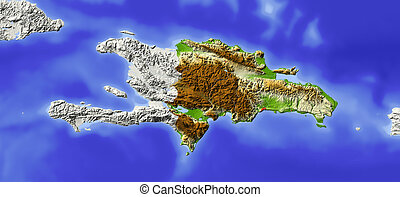 Dominican Republic, shaded relief map - Dominican Republic...
