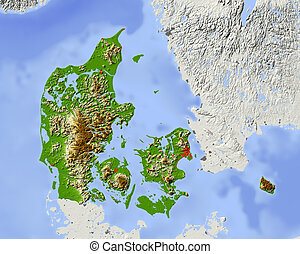 Denmark, shaded relief map - Denmark. Shaded relief map....